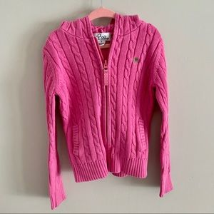 Lilly Pulitzer pink cable knit girl zip up sweater